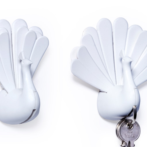 Peacock key holder (White)